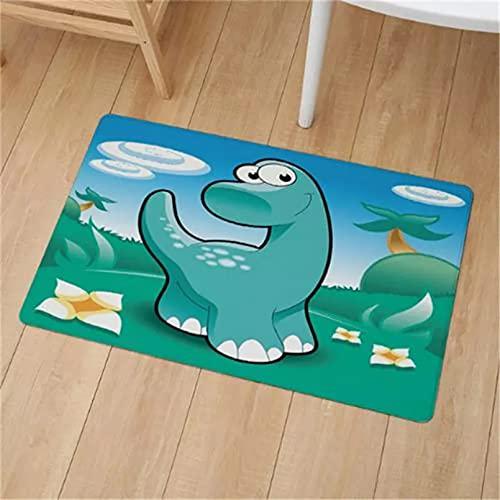 Felpudo para interiores con diseño de dinosaurios jurásicos de dinosaurios de dibujos animados de cocina, antideslizante, para puerta de coche,