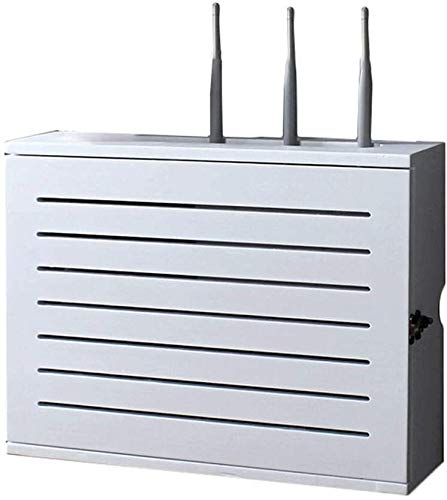 Enrutador de Almacenamiento Pared Blanca Plataforma WiFi Router inalámbrico Caja de almacenaje del zócalo blindaje de Alambre Alambre de la Caja de Acabado Plataforma Flotante