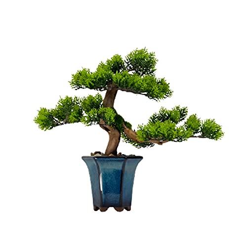 WENMENG2021 Decoración Pequeña Planta de árboles Falsas de árboles de bonsái pequeño, Pine Bonsai Plant Faux Bonsai, para la Pantalla de Escritorio de la Patio de Windows, 11 Pulgadas Plantas Falsas