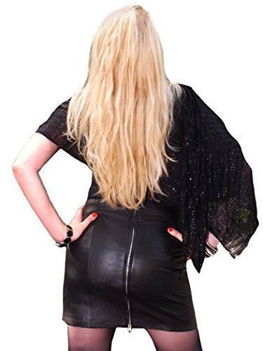 Fetish-Design Mini falda de piel de napa auténtica, negro