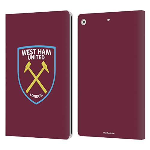 Official West Ham United FC Full Colour Crest Leather Book Wallet Case Cover Compatible For Apple iPad 10.2 (2019)/(2020)