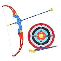 [LD] Amitasha Plastic Archery Bow and Arrow Toy Set with Target Board, Multicolour