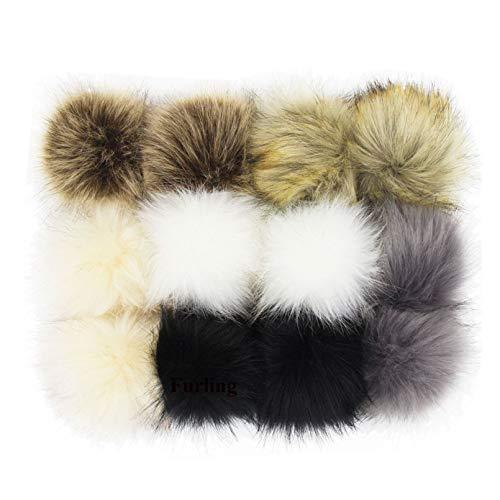 SUSULU DIY 12pcs Faux Fox Fur Fluffy Pompom Ball with Elastic String Pom Poms for Knitting Hat Accessories