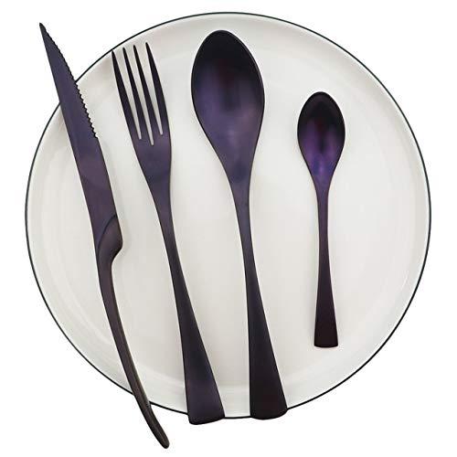 LQF Purple Reusable Dinnerware Set Metal Flatware Set 304 Stainless Steel Kitchen Tableware Knife Fork Coffee Spoon Set tableware-10.9 (Color : 4pcs D)