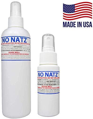 No Natz | Gnat, Mosquito and Biting Flies Repellant | Effective Personal Botanical Bug Spray | Hand-Crafted DEET-Free Hypoallergenic | Non-Greasy Formula (2, 2oz./8oz.)