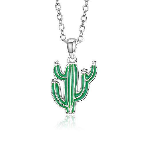 Italina Bijoux Collars para Mujer Niña Zircón Colgante Cactus para Mujeres Ajustable Color de rodio/Oro/Oro-Rosa