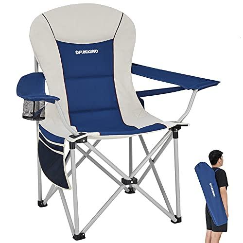 FUNDANGO Oversize Lumbar Back Support Camping Chair, Heavy Duty Padded Folding...
