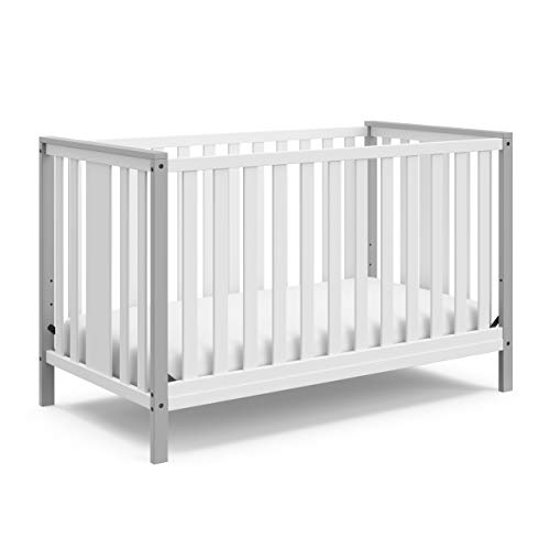 Storkcraft Modern Pacific 4-in-1 Convertible Crib Contemporary 2 Tone Design Non-Toxic Finish Converts into Full-Size Bed Adjustable Mattress Height Fits Standard Crib Mattress, Pebble Gray