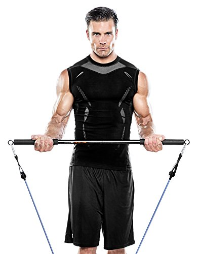 Bionic Body Workout Bar – Fits All Resistance Bands with Clip, 38 Inches Long BBEB-020, Black, 2.00 x 3.25 x 21.00 inches