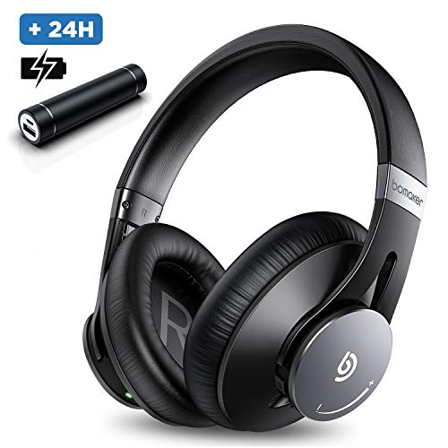 Hoofdtelefoon met ruisonderdrukking ANC BOMAKER Bluetooth 5.0 CVC 8.0 microfoon 360 ° volumeregeling draadloze headset draadloze over-ear koptelefoon met proteïne-oorkussens, reistas voor pc / mobiele telefoon / Andorid-tv