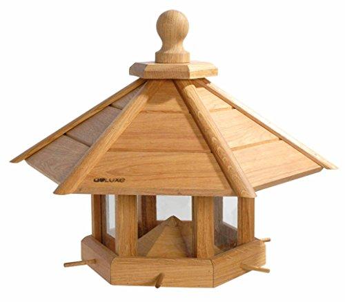 """Luxus-Vogelhaus 46131e Großes XXL Vogelhaus \""""Anflug\"""" aus Holz (Eiche) für Garten, Balkon, geöltes Eichenholz mit Futter-Silo / 6 Anflugstangen - XL Vogelhäuschen Vogelfutterhaus"""