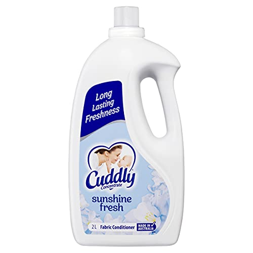 Cuddly Concentrate Liquid Fabric Softener Conditioner Sunshine Fresh 2L, 80 Washes, Made in Australia, Long Lasting Fragrance, Luxurious Softness, Easy Iron, Reduces Wrinkles, Reduces Static, Fast Dry