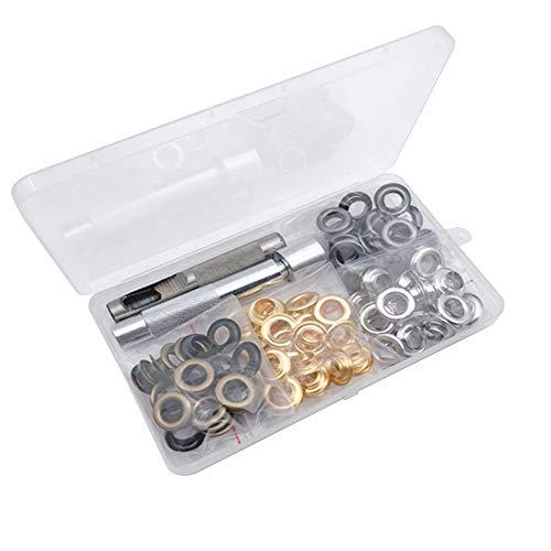 Bestgle 100 piezas Kit de Herramienta de Ojetes diámetro interior 10 mm con Herramienta de Montaje de Arandela Ojetes Metalicos para Lonas Toldos Cuero Diy