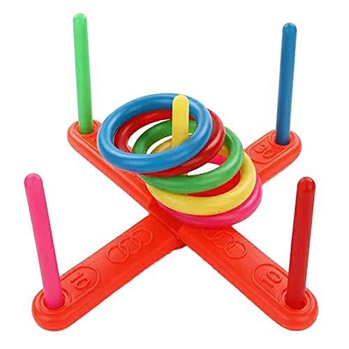 Demarkt Ringwurfspiel mit 5 Ringen, Wurfspiel Outdoor Ringwurfspiel Werfen den Ring Spiele für draußen Aktiver Indoor Spielspaß