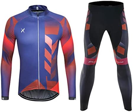Xtextile Mens Cycling Jersey Set with Full Zipper Long Sleeves Bicycle Shirt and 4D Coolmax Padded Cycling Tights Leggings