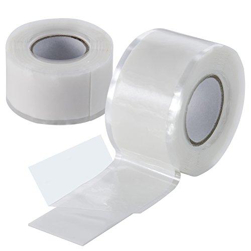 Poppstar 2x 3m selbstverschweißendes Silikonband, Silikon Tape Reparaturband, Isolierband und Dichtungsband (Wasser, Luft), 25mm breit, weiß