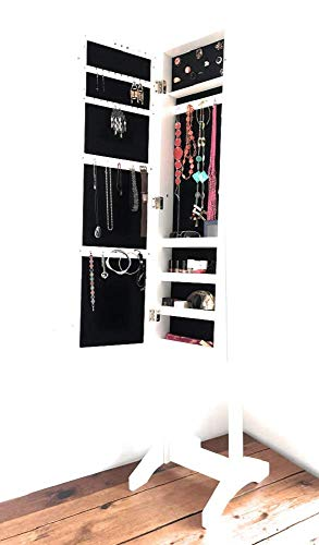 AUDACE DECO Miroir psyché Bijoux Blanc, Armoire a Bijoux avec Miroir sur Pied inclinable, Blanc