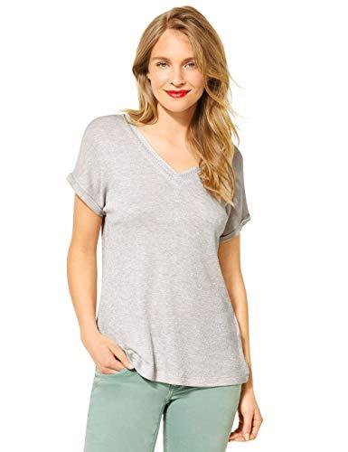 Street One Damen 315039 T-Shirt, sea Stone Melange, 40
