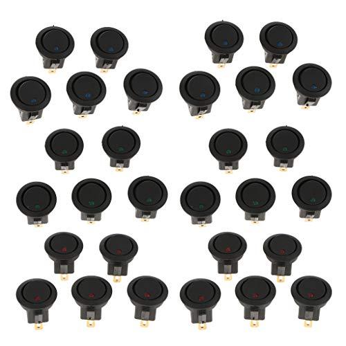 Sharplace 30 Pcs 12v 16a 3 Broches Point LED Rond Interrupteur à Bascule pour Camion De Voiture