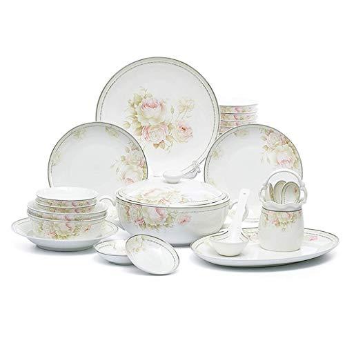 XUSHEN-HU Juego de vajilla de cerámica de 46 piezas, cuenco/plato/olla de sopa, juego de vajilla elegante con patrón de flores, para regalo, banquetes o regalos de boda vintage