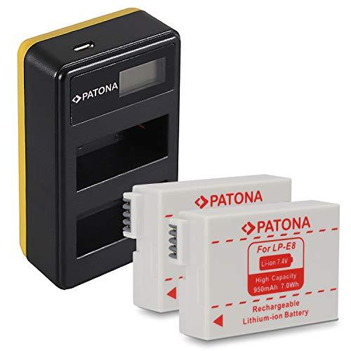 PATONA 2X LP-E8 Baterias con Cargador Doble LCD Compatible con Canon EOS 700D 650D 600D 550D Kiss X5 X6i Rebel T3i T4i T5i