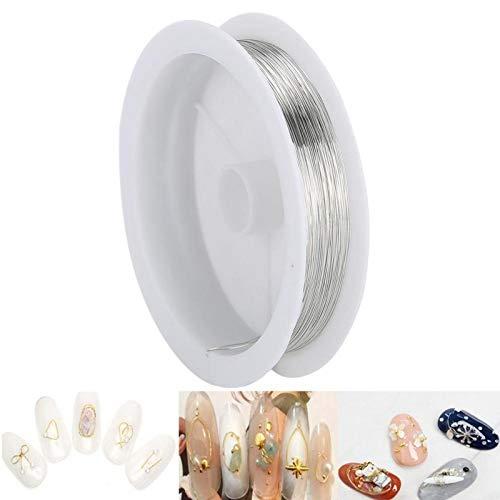 Reparación de abalorios [PLATA], DIY Cordón de abalorios Accesorios de joyería Arte de uñas Decoración de manicura Hilo de alambre de cobre metálico para manualidades Fabricación de joyas Alambres de