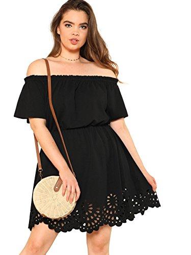 Romwe Women's Plus Size Off The Shoulder Hollowed Out Scallop Hem Party Short Dresses Black 1X Plus