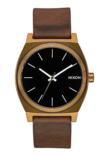 Nixon Time Teller Damennuhr Analog Quarz mit Leder Armband Brass / Schwarz / Brown