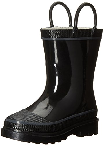 Western Chief Kids Waterproof Rubber Classic Rain Boot with Pull Handles, Black, 11 M US Little Kid