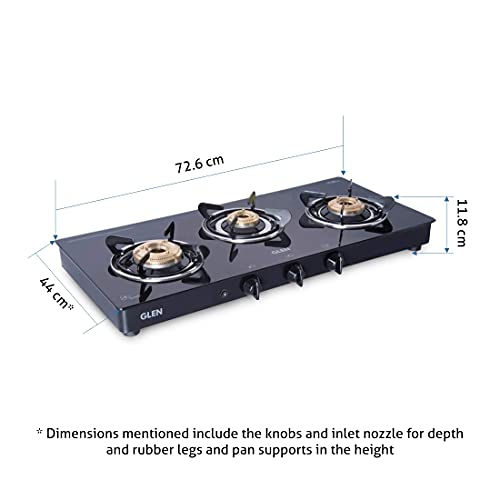 Glen 3 Burner LPG Glass Gas Stove with High Flame Brass Burners, Auto Ignition, Extra Wide, Black (1033 GT XL BB BL AI)