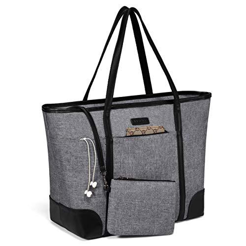 VASCHY Laptop Handtasche Damen, Groß 15.6-17 zoll Notebooktasche Wasserabweisend Laptop Tasche Shopper Tote Bag Schultertasche Aktentasche für Arbeit Reise Lehrer mit Gepäckband-Grau