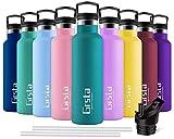 Grsta Trinkflasche - Thermosflasche Edelstahl 500ml Thermoskanne Doppelwandige Isolierflasche BPA Frei Auslaufsicher Kinder Wasserflaschen für Schule, Küche, Zuhause, Outdoor-Sportarten