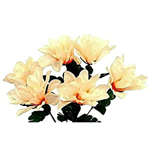 Floral Décor Supplies for 6 Head 3″ Dahlia Artificial Silk Flowers Wedding Bouquet Centerpiece Fake Faux for DIY Flower Arrangement Decorations – Color is Peach/Beige
