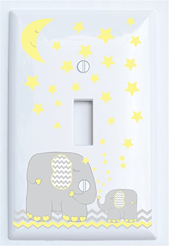 Yellow Elephant Light Switch Plate Cover Single Toggle with Yellow Moon and Stars / Elephant Nursery Decor with Grey and Yellow Chevrons (Single Toggle)