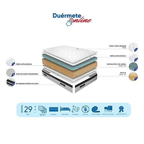 Duermete Online - Materasso matrimoniale 160x200 cm, altezza 29 cm, Tessuto Termoregolatore - Modello Biogel - Dispositivo Medico Detraibile