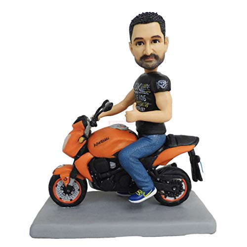 Motorrad Kuchen Topper Mann mit Motorrad Bobblehead Puppen Skulptur aus Fotos personalisierte Tonpuppe