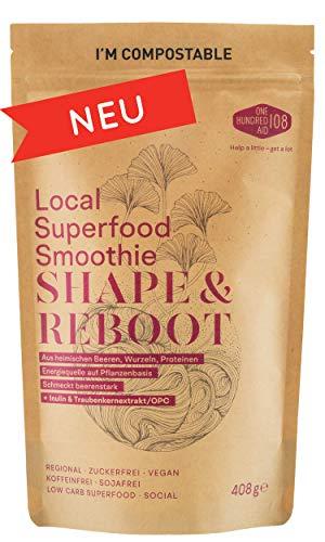 Shape & Reboot - Smoothie Pulver aus lokalen Bio-Superfood u.a. Aronja & Himbeeren, Löwenzahnwurzel, Lupinen-Protein, Hagebutten, OPC & weiteren Heilpflanzen als Diät-Fitness-Shake Mix oder Bowl