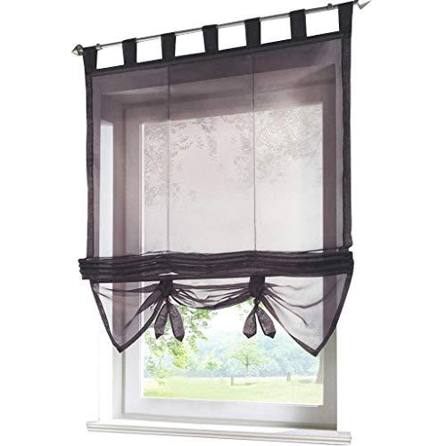 ESLIR Raffrollo mit Schlaufen Gardinen Küche Raffgardinen Transparent Schlaufenrollo Vorhänge Modern Voile Grau BxH 140x155cm 1 Stück