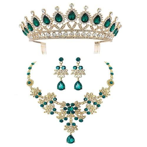 XIGAWAY Joyería de la ropa de la boda del triple del pelo de la corona verde de