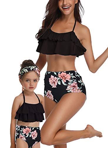 Sixyotie Parent-Enfant Maillots de Bain Hors Bikini Ensemble pour Les Femmes Filles Deux pièces Maman et Moi Maillots de Bain Famille Correspondant Maillots (Noire, EU 38-40,M)