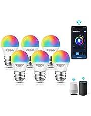 Aigostar Smart WiFi-bulb G45 E27-fitting, werkt met Alexa en Google Home, van kleur te veranderen, 5W LED lampen, dimbaar 3000K-6500K wit en RGB-bulb, geen hub vereist, Set van 6 stuks energieklasse A+