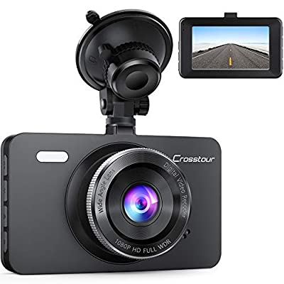 "Dash Cam, Crosstour 1080P Car DVR Dashboard Camera Full HD with 3"" LCD Screen 170°Wide Angle, WDR, G-Sensor, Loop Recording and Motion Detection (CR300) by Crosstour"