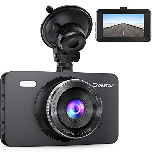 Dash Cam, Crosstour 1080P Car DVR Dashboard Camera Full HD with 3' LCD Screen 170°Wide Angle, WDR, G-Sensor, Loop Recording and Motion Detection (CR300)