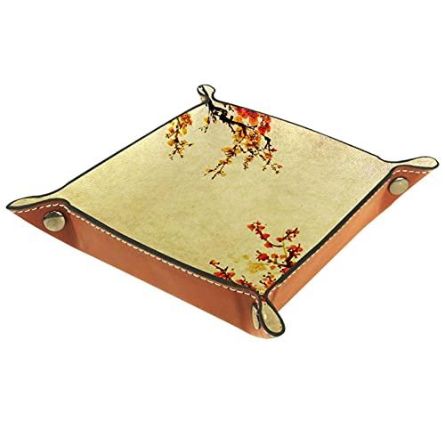 Bandeja de Valet, colección de Cuero de PU, Organizador de bandejas, Caja de Almacenamiento para Relojes, Monedas, Monedas, Billetera, Flor de Ciruelo japonés Vintage
