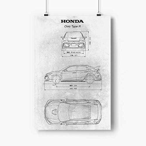 00 Honda 開店祝い Civic Type R Poster prints 27x40 上等 Ca No Frame Sports -