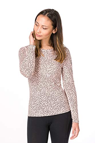 super. Natural Femme W Base 175 Printed T-Shirt à Manches Longues en Mérinos L Rosa/Blush Stars
