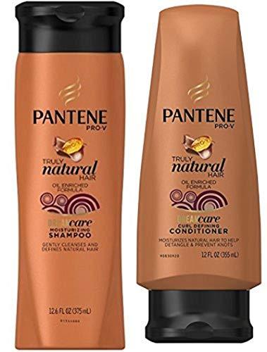 Pantene Truly Natural Hair Moisturizing Shampoo (12.6 oz) & Curl Defining Conditioner (12 oz) Set