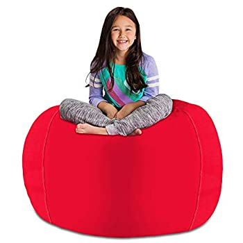 Posh Stuffable Kids Stuffed Animal Storage Bean Bag Chair Cover - Childrens Toy Organizer X-Large 48  - Solid Red