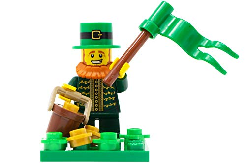 LEGO St Patrick's Day Leprechaun & Pot of Gold Toy - Custom Saint Patty's Irish Minifigure