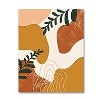 絵画 インテリア 植物の葉ポスター抽象自由奔放に生きる壁アートプリント植物葉キャンバス絵画壁の写真リビングルームのくわの装飾19.7x27.6in(50x70cm)x1pcsフレームなし